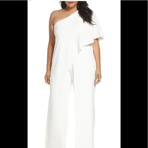 Adrianna papell draped one shoulder jumpsuit